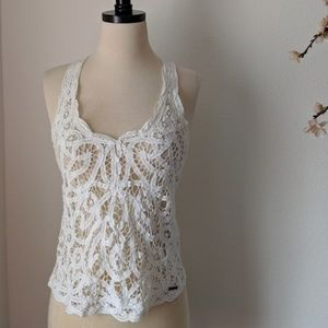 A&F Festival Crochet Lace Summer White Tank Top XS
